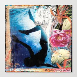 LIVE WELL, My Heart is with the Sea Canvas Print