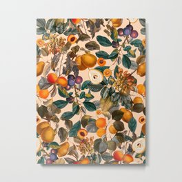 Vintage Fruit Pattern IX Metal Print