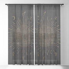 Astronomy Symbols Sheer Curtain