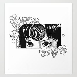 Junji Ito with cherry blossoms Art Print