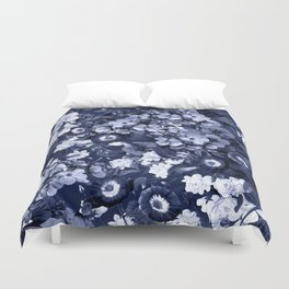 Bohemian Floral Nights in Navy Duvet Cover