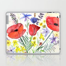 Poppy bouquet in a mason jar Laptop & iPad Skin