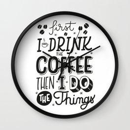 First Coffee Wall Clock