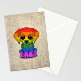 Cute Puppy Dog with Gay Pride Rainbow Flag Stationery Cards