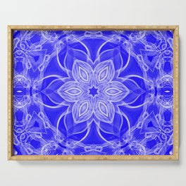 Blue Lace Mandala Serving Tray