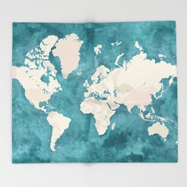 Teal watercolor and light brown world map Throw Blanket