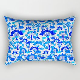 Exotic Garden Blue Rectangular Pillow
