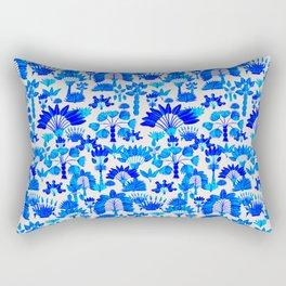 Exotic Garden Blue Rectangular Pillow