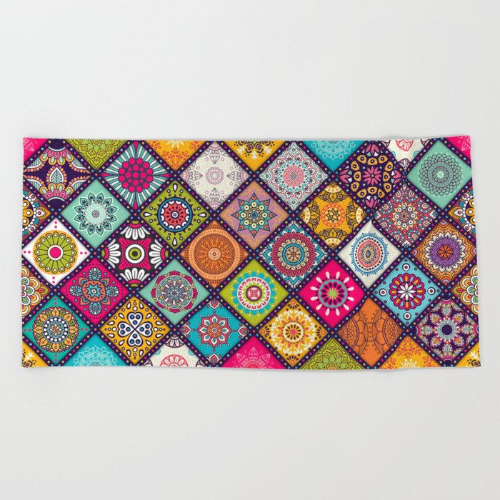 bohemian pattern Beach Towel