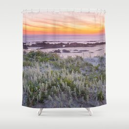 Red sunset in the beach Shower Curtain