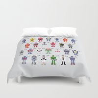 transformers Duvet Covers featuring Transformers Alphabet by PixelPower