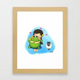 Nootchi et la grenouille Framed Art Print