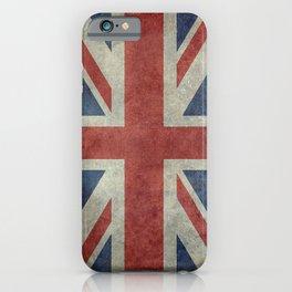 England's Union Jack, Dark Vintage 3:5 scale iPhone Case