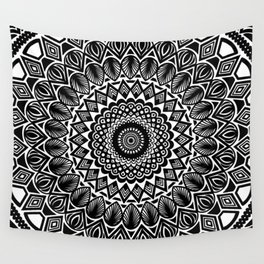 Detailed Black and White Mandala Wall Tapestry