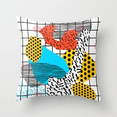Wig Out - memphis style shapes retro pop art pattern dots stripes squiggles 1980's 80s 80 1980 retro Throw Pillow