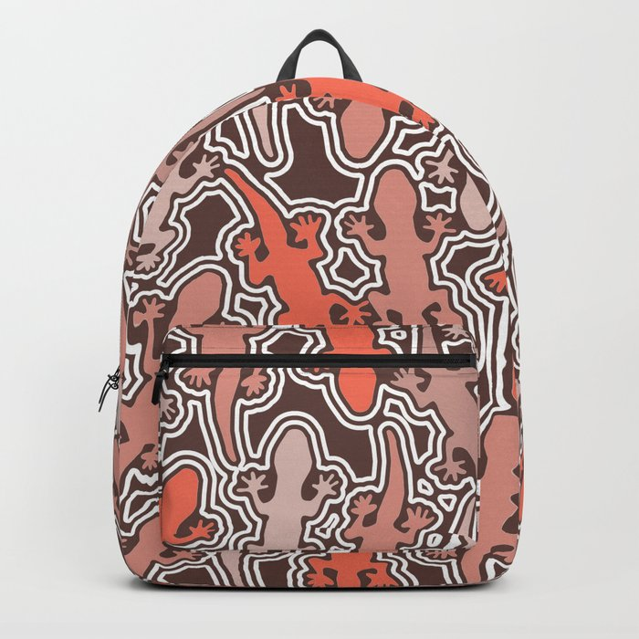 Lizards in apricot and coral orange Backpack