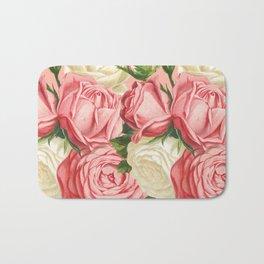 Coral pink blush cream ivory and green summer big roses Bath Mat
