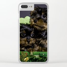 Two Hugging Yorkshire Terrier Puppies in a St. Patrick's Day Basket Clear iPhone Case