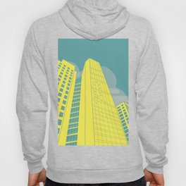 Yellow and Blue Building Simple Graphic Illustration Hoody
