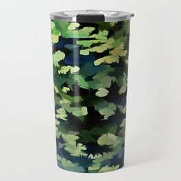 Foliage Abstract Pop Art In Green and Blue Travel Mug