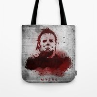michael myers Tote Bags featuring Myers by Colo Design
