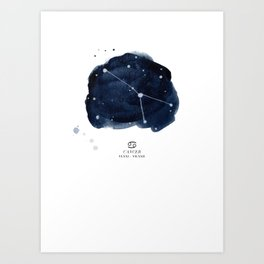 Zodiac Star Constellation - Cancer Art Print