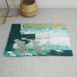 023.2: a vibrant abstract design in teal green and yellow by Alyssa Hamilton Art  Rug
