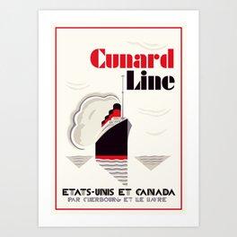 Cunard Line art deco style Art Print
