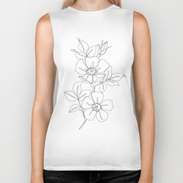 Floral one line drawing - Rose Biker Tank