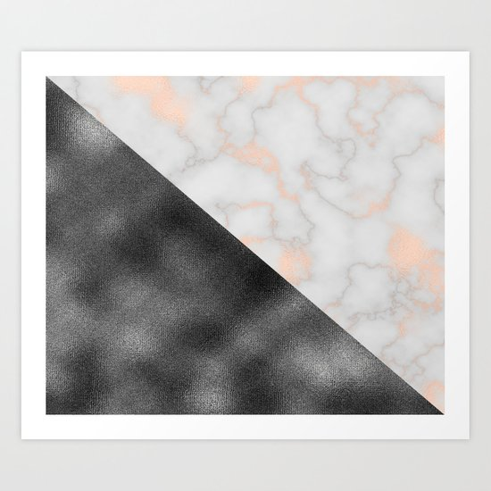 Rose gold marble and gunmetal grey storm Art Print