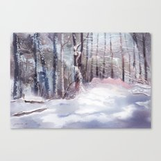 Snow Sparkled Woods Canvas Print
