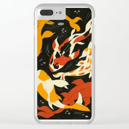 Koi in Black Water Clear iPhone Case