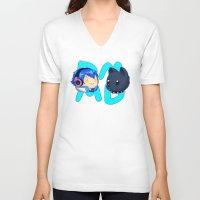 dmmd V-neck T-shirts featuring DMMD- chibi Aoba and Ren by prpldragon
