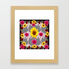 RED ROSES SUNFLOWERS & WHITE DAISIES BLACK VIGNETTE Framed Art Print