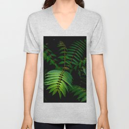 Illuminated Fern Leaf In A Dark Forest Background Unisex V-Neck