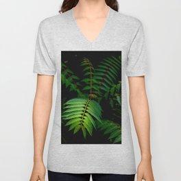 Illuminated Fern Leaf In A Dark Forest Background Unisex V-Neck