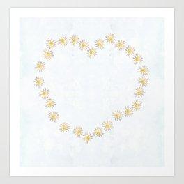 Daisy chains and daisy hearts Art Print