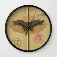 da vinci Wall Clocks featuring Leonardo da Vinci by Eva Nev