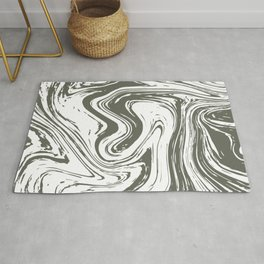 Grey Striped Marble On White Rug
