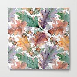 Colorful Watercolor Oak And Acorn Pattern Metal Print