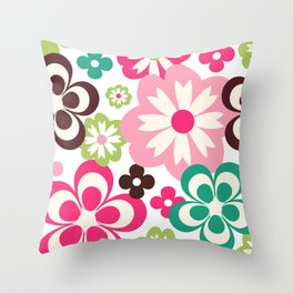Big And Small Abstract Colorful Flowers Pattern Throw Pillow