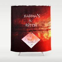 karma Shower Curtains featuring Karma by Veronica Ventress