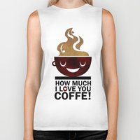 coffe Biker Tanks featuring Coffe, love coffe by Nayade Limnatide