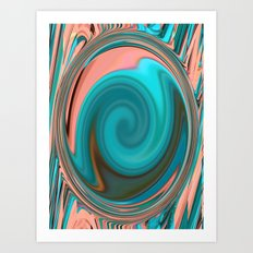 Pink and Blue Swirl Art Print