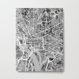 Washington DC City Street Map Metal Print