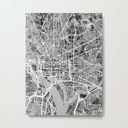 Washington DC City Street Map Metal Print