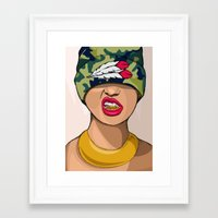 mcfreshcreates Framed Art Prints featuring Goldie the Brave by McfreshCreates