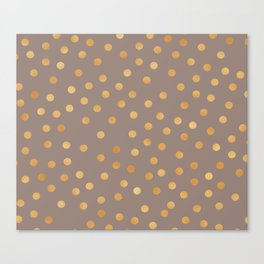 Rose gold polka dots - mocha golden Canvas Print