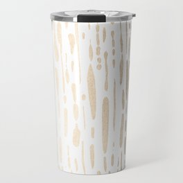 White Gold Sands Modern Vertical Dotted Lines Travel Mug