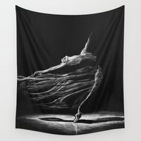 ballerina Wall Tapestries featuring ballerina by Elena_Voro